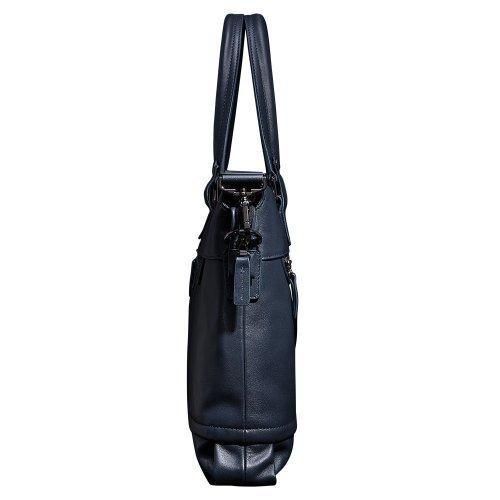 Oneworld Herren Rindleder Messenger Bag Aktentasche Schultertasche Notebooktasche Handtasche Umhängetasche Schultasche Tote Bag 42x27.5x9cm(BxHxT) Blau Blau