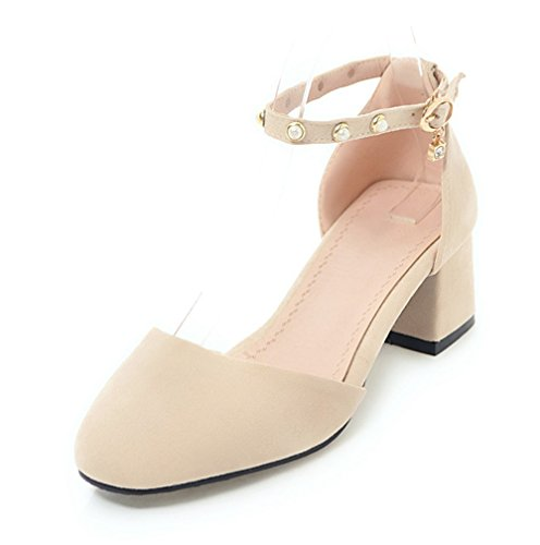 Aisun Damen Geschlossen Blockabsatz Strass Perlen Knöchelriemchen Sandale mit Schnalle Nudefarbe 38 EU (Klassische Sandalen Schritt Frühling)
