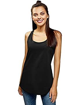 oodji Ultra Mujer Camiseta de Tirantes Básica de Algodón