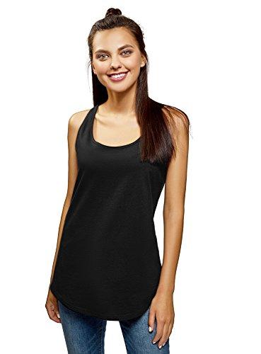 oodji Ultra Mujer Camiseta de Tirantes Básica de Algodón, Negro, ES