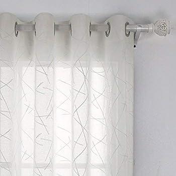 Deconovo Voile Vorhang mit Ösen Dekosachl Transparent