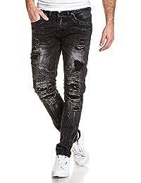 BLZ jeans - Jean noir stylé street homme destroy