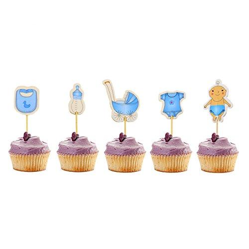 Newbested 60Zählen Boy Baby Dusche Cupcake Topper, Geburtstag Kuchen Dekoration Picks
