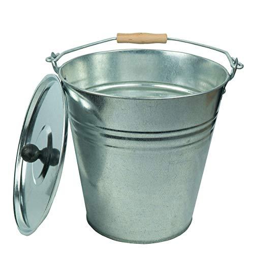 Zinkeimer Ascheeimer mit Deckel, verschiedene Größen (10 Liter), ideale Kamin Zubehör Erweiterung, Eimer zur Lagerung von heißer und kalter Asche
