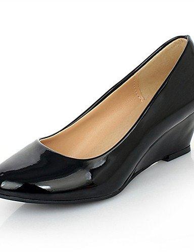 WSS 2016 Chaussures Femme-Mariage / Habillé / Décontracté / Soirée & Evénement-Noir / Blanc-Talon Compensé-Compensées-Chaussures à Talons- black-us6 / eu36 / uk4 / cn36