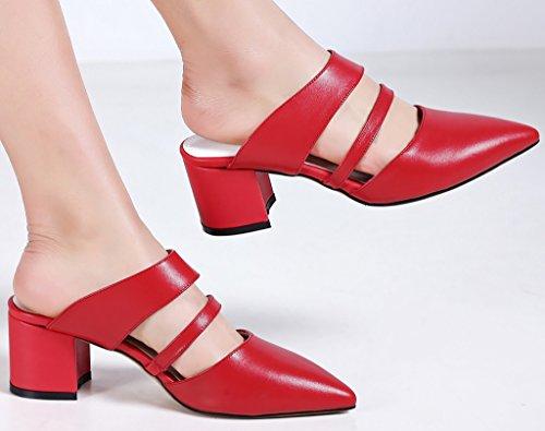Calaier Femme Caserious 5.5CM Bloc Glisser Sur Mules et sabots Chaussures Rouge