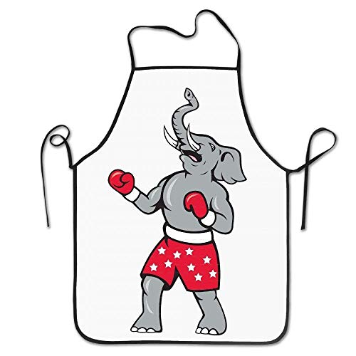 DEFFWB Printed Animals Elephant Boxer Boxing Belt Vintage Aprons (Dressing Up Geschäfte)