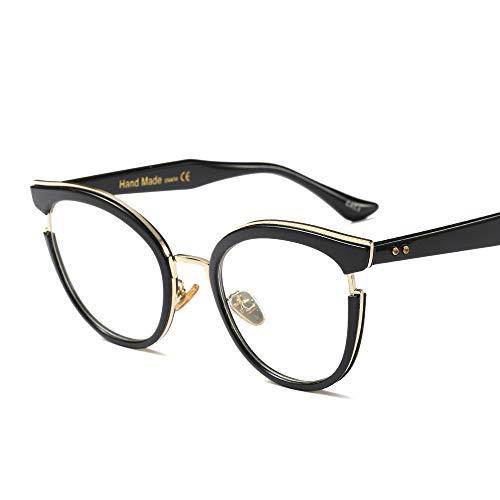 Cvthfyky Mode Classic Horn umrandeten klare Brille, Retro Brillengestell für Frauen (Farbe : Schwarz)