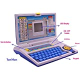 TanMan English Learner Educational Laptop Toy For Kids With 20 Different Activities With Mouse / Educational Toy / Learning Alphabets, Numbers, Spellings, Pictures / Led Display / Foldable / Battery Operated (Blue)