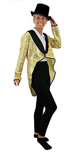 K/TAILCOAT IN GOLD MIT PAILLETTEN MIT ODER OHNE HUT IN 6 VERSCHIEDENEN GRÖSSEN = TOLLES TANZ ODER STEPTANZ KOSTÜM DER SUPERKLASSE GRÖSSE : XXL - 52/54 - MIT HUT (Tanz Kostüme Hüte)