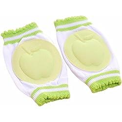 Malloom seguridad del bebé de arrastre del codo del amortiguador Niños rodilleras protector (verde)