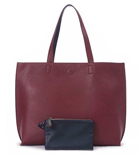Overbrooke wendbare Handtasche - Veganes Leder Damen Schultertasche mit Armband, Red/Midnight Blue (Schwarz) - ReversToteRed17 -