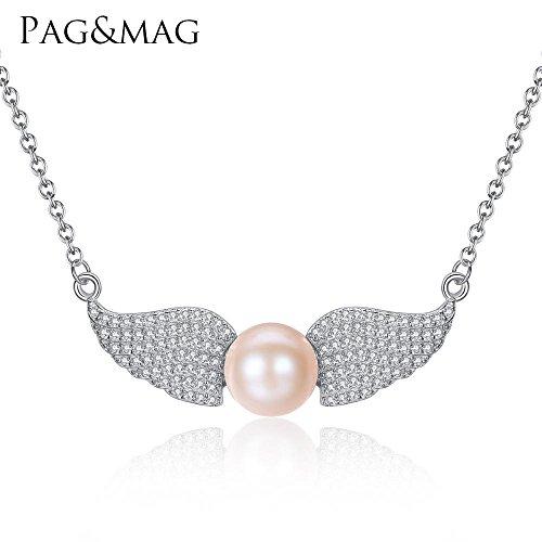 Haixin Angel wings S925 argent chaine, pendentif perle naturelle de chaîne longue 40 + 5 cm (réglable)