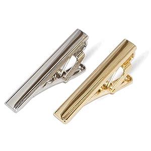 2-er Set je 3,8 cm Herren kurze schmale Krawattenklammer/Krawattennadeln glänzend Silber Gold für Business Krawatte elegant Hochzeit