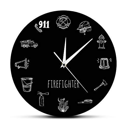 llsmting Wanduhren für Wohnzimmer Feuerwehrmann Tools schwarz Runde Moderne Uhr geeignet für Büro Restaurant Schlafzimmer Kinderzimmer Café Hotel 12 Zoll Geburtstagsgeschenk -
