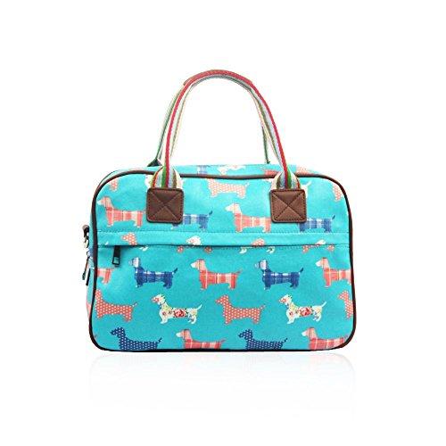 HB Style - Borsa in pelle opaca, con fantasia cagnolini Blue