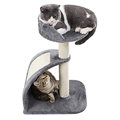 PAWZ Road Cat Tree Scratching Board Sisal Rope Scratching Posts with Perch Pad Cats Toy Activity Centre for Kitten Grey/Brown by PAWZ Road