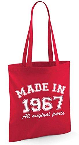 Made in 1966All Original Parts 50. Geburtstag Geschenk Tasche Edward Sinclair Schultertasche rot