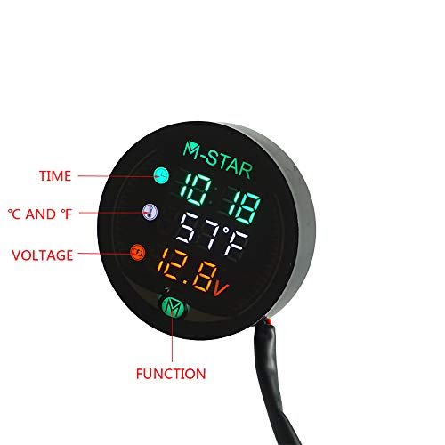 CBFYKU Wasserdichte Nachtsicht Motorrad Meter LED Digitalanzeige Voltmeter Spannung Volt Temperaturanzeige Zeit LED 3 In 1