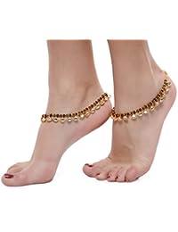 Shining Diva Gold Metal Kundan Anklet for Women (5639a)