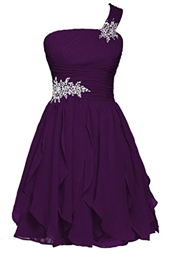 Promworld Women's Ein Strap Wulstige Chiffon Ballkleid Abendkleid Grape US16
