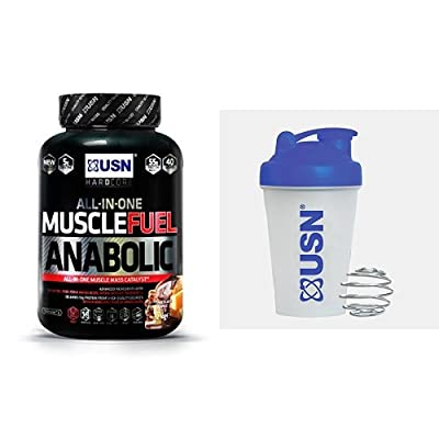USN Muscle Fuel Anabolic Lean Muscle Gain Shake Powder, Chocolate Orange, 2 kg with USN Metal Ball Mixer Shaker, 400 ml