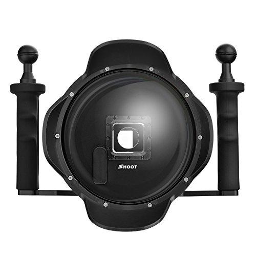 SHOOT Pro 3.0 Versione 6 '' Pollici Immersione Palmare Stabilizzatore Paraluce Dome Lens Dome Port per GoPro Hero 3+/4 Argento Nero Fotocamera con Monitor Esterno dello Schermo LCD Display Viewer