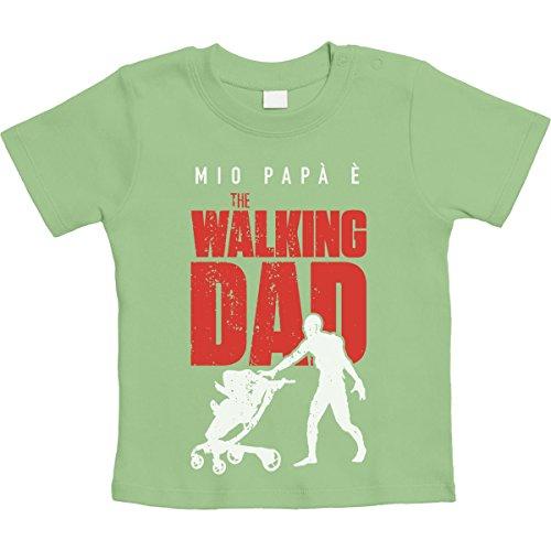Shirtgeil mio papà è the walking dad - regalo per fan serie tv maglietta neonato unisex 6-12 mesi kiwi green