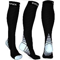 Physix Gear Sport Calcetines de compresión, los Mejores Calcetines compresión Mujer y Hombre para el Dolor de pies y Gemelos, Medias de compresión Hombre y Mujer, 1 par, L/XL, Negro/Gris