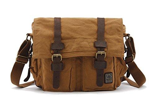 KIPTOP Wasserdicht Umhängetasche Vintage Canvas Leder Messenger Bag Aktentasche Schultertasche 16 Zoll Laptoptasche Notebooktasche aus Canvas und Leder (Klassischer Stil: Khaki) Klassischer Stil: Khaki