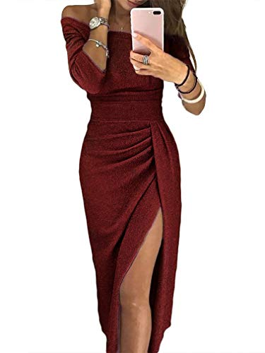 ZJCTUO Partykleid Damen Festliche Elegante Kleider Schulterfrei Jerseykleid Cocktailkleid Abendkleid für Hochzeit Party glänzend
