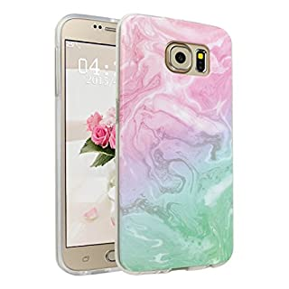 Asnlove Galaxy S6 Case Lightweight Soft Flexible TPU Rubber Anti-Scratch Protective Case for Samsung Galaxy S6(Pink and Green)