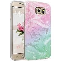 Galaxy S6 Funda, Asnlove Carcasa de Gel TPU Silicona con Textura de Mármol Slim Soft Flexible Anti-Arañazos Espalda Parachoques Tapa Trasera Case Caso para Samsung Galaxy S6 G920 Diseno en Rosa Verde