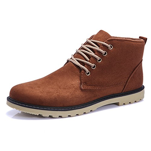 Men's PU Leather High Top Casual Shoes brown