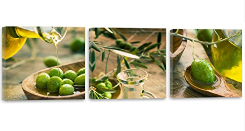 Feeby Frames, Cuadro en lienzo - 3 partes - Panorámico, Cuadro impresión, Cuadro decoración, Canvas 60x20 cm, ACEITE VEGETAL, ACEITE DE OLIVA, COCINA, VERDE
