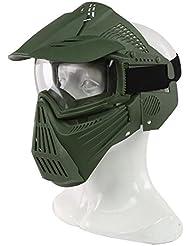 haoyk táctico militar de Airsoft de la cara llena máscara protectora transparente protección Paintball Halloween disfraz, OD verde