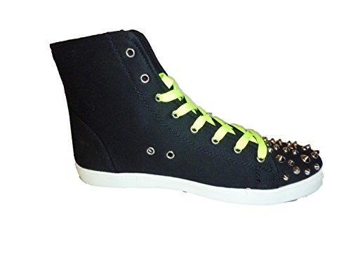 3-W-Hohenlimburg Topmodische Halbhohe Stiefel Sneakers Übergangsschuhe in Schwarz mit Nieten. Übergangsschuhe Damenschuhe, SNE005, Schuh für Damen. Schwarz-Gelb