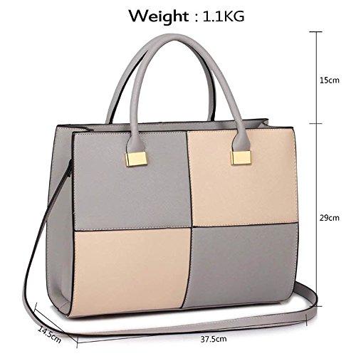 LeahWard® XL Größe Damen Kunstleder Qualität Handtasche Damen Mode Essener Tragetasche Berühmtheit Stil Qualität Taschen CWS00153XL XL Grau/nackt