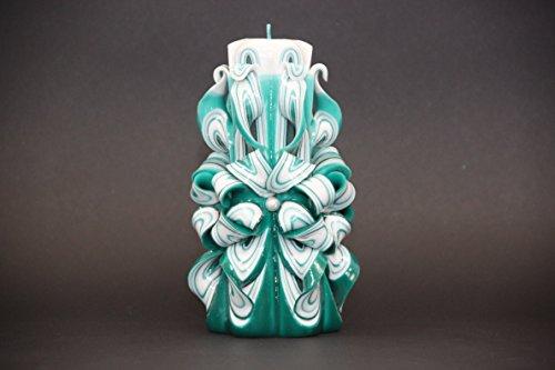 Bougie Sculptee Artisanale Decorative Turquoise Et Blanc Un Cadeau