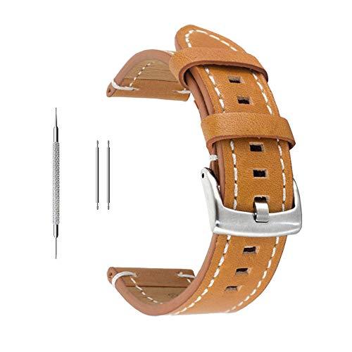 Uhrenarmband aus Echtleder von Berfine, extra weiches Echtleder, Ersatzarmband für Damen- und Herrenuhren, schwarz, braun, 18mm, 20mm, 22mm