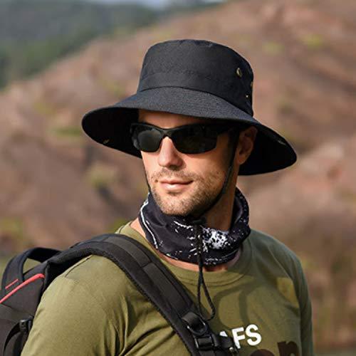 Shentukeji Chapeau de Soleil pour Homme et Femme en Plein air UPF 50+ Protection en Maille à Large Bord Respirant Pliable Chasse Pêche Plage Chapeau - Noir - Taille Unique