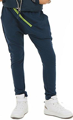 ModaFresca Mädchen Baggy Hose mit ZIP Sportshose Frühling Sommer Schule Camuflage Military Hosen oder Einfarbig 116-158 (116, Blau)