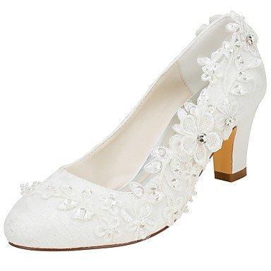 Wuyulunbi @ Chaussures Pour Femmes En Élastique Satin Automne Pompe Printemps Base Chaussures De Mariage Chunky Perle Ronde Perle Cristal Perle Pour Party & Robe De Soirée A