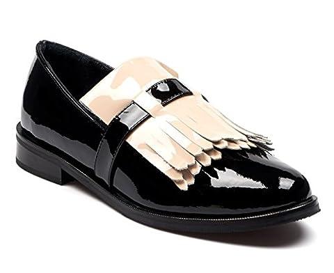 BOBERCK Kennedy Collection Women Oxford Shoes Leather (6 US, Black / Beige Fringe)