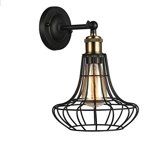 DENG Appliques Cage Edison LED Industriel E27 Moderne Métal Intérieur Abat-Jour Décoration Chevet Fixation Éclairage