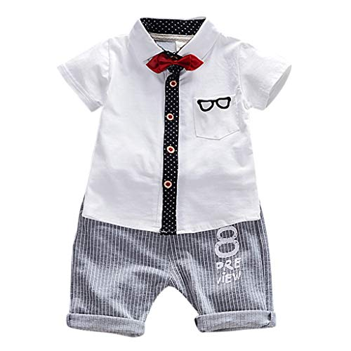 Julhold Kind Baby Boy Cute Mode Herren Cartoon Krawatte Baumwolle Slim Tops T-Shirt + Shorts Outfit Set Kleidung 0-4 Jahre