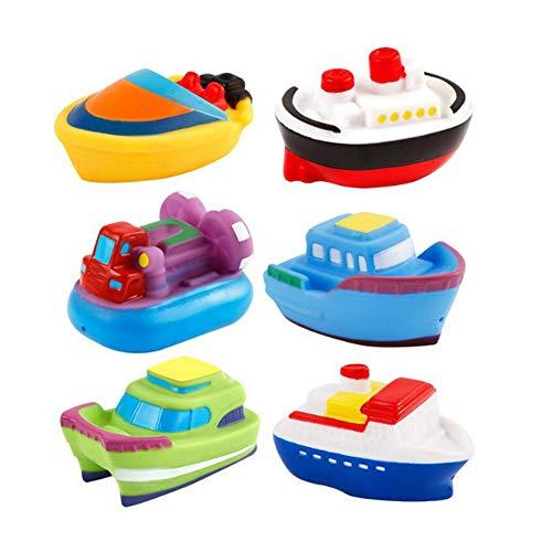 Isuper Badespielzeug, Baby Badewanne Spielzeug 6 Stück Kleine Boots Schwimmendes und Wasserspritzen Bade Spielzeug für Baby und Kleinkinder