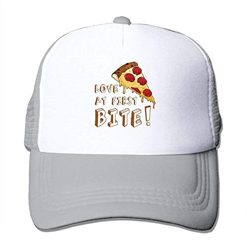 Suxinh Pizza Love at First Bite Mesh Hat Baseball Caps Funny Grid Hat Adjustable Trucker Cap