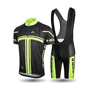 41io2BhebbL. SS300 INBIKE Completo Ciclismo Estivo Manica Corta Tuta Ciclismo Uomo Pantaloncini con Bretelle in Gel 3D