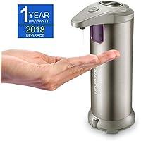 AmazeFan Dispensador de jabón líquido de acero inoxidable, dispensador de loción automático, sensor de
